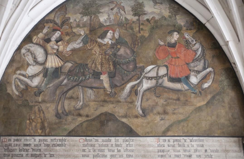 Les trois vifs du Dict des trois morts et des trois vifs_abbaye_royale_saint_riquier_somme_picardie